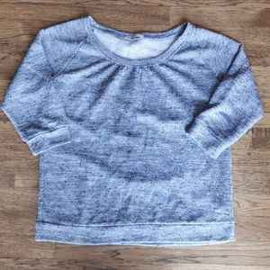 Gap 1/3 Sleeve Sweatshirt Heathered Grey Nubby M